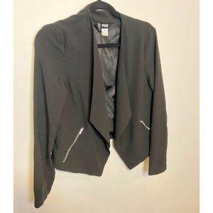Black Cropped Open Blazer with Zipper Pockets